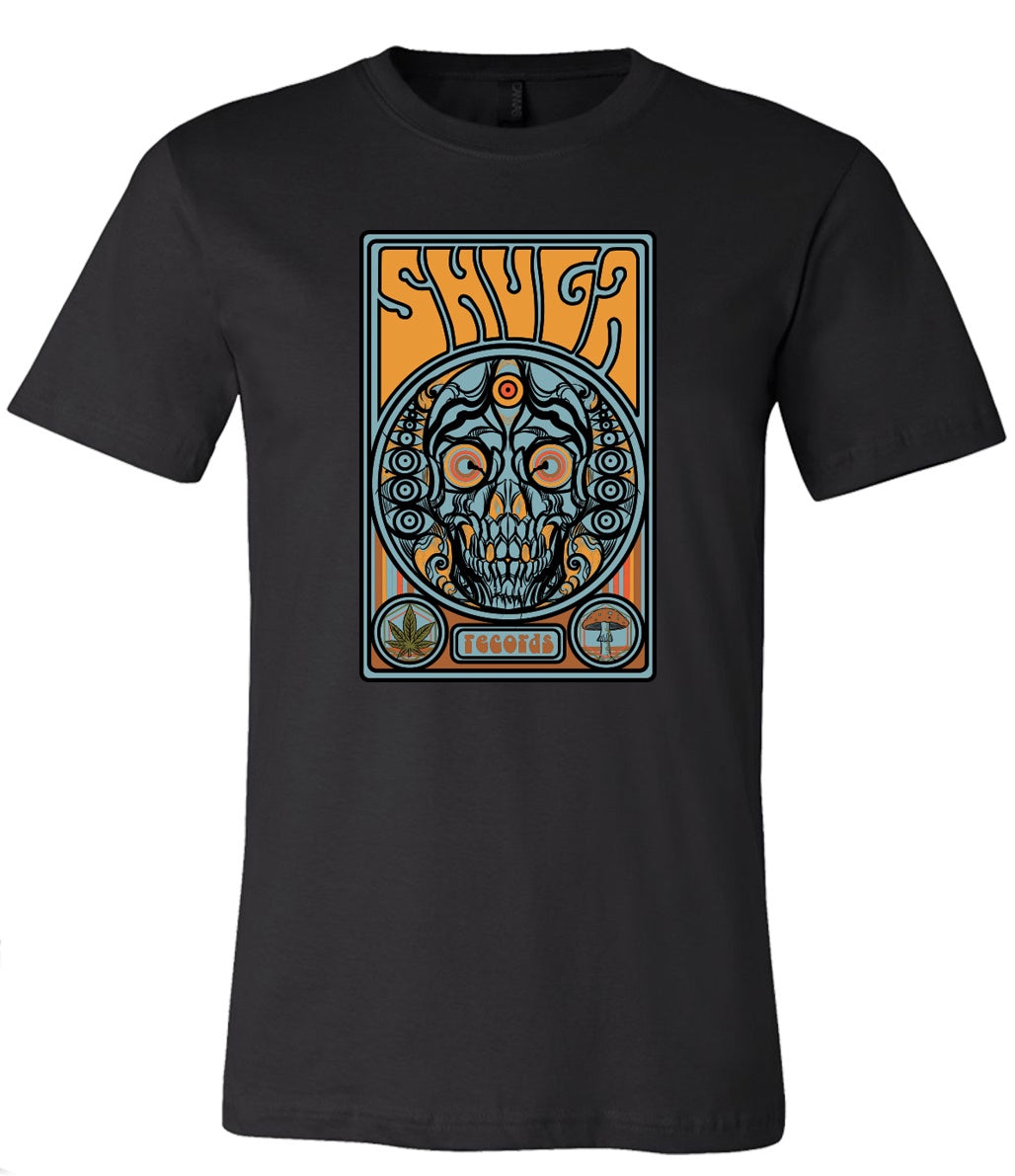Shuga Records 'Trippy Skull' Design Black T-Shirts