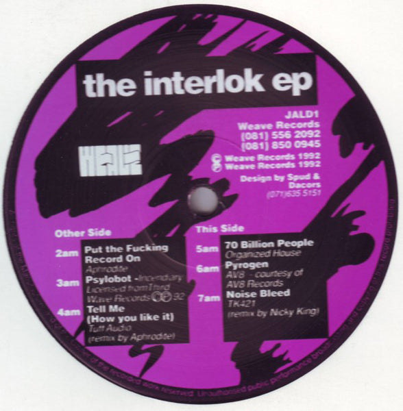 "Aphrodite/Incendiary/Tuff Audio/TK421/AV8/Organized House - The Interlok EP - VG+ 12"" Single 1992 UK Import - Breakbeat/Hardcore"