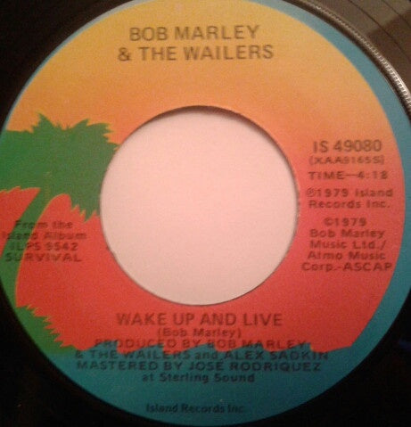 Bob Marley & The Wailers ‎– Wake Up And Live - VG 45rpm 1979 USA - Reggae
