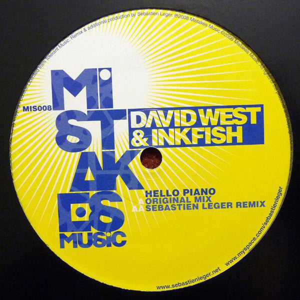 "David West & Inkfish - Hello Piano (Sebastian Leger Remix) - Mint- 12"" Single (France Import) 2008 - Progressive House/Electro"