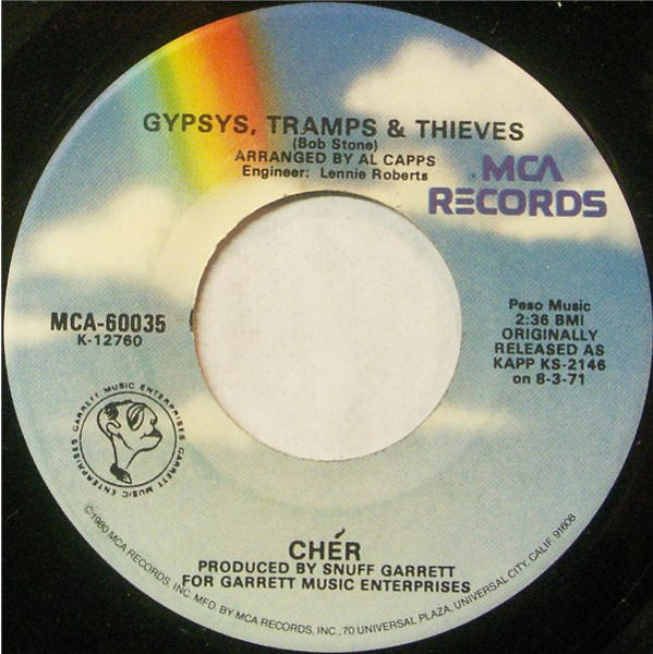 "Cher - Gypsys, Tramps & Thieves / The Way Of Love VG+ - 7"" Single 45RPM 1973 MCA USA - Pop"