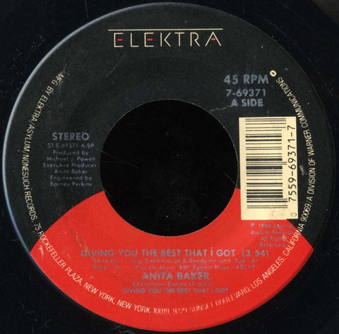 "Anita Baker- Giving You The Best That I Got / Good Enough- M- 7"" Single 45RPM- 1988 Elektra USA- Jazz/Funk/Soul"