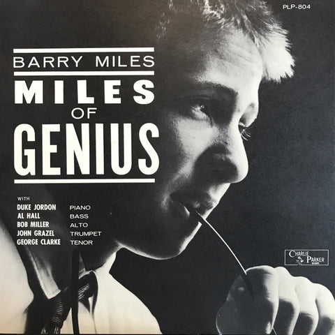Barry Miles ‎– Miles Of Genius - VG+ Lp Record 1962 Charlie Parker USA Mono Vinyl - Bop / Contemporary Jazz