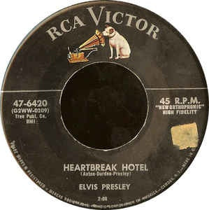 "Elvis Presley- Heartbreak Hotel / I Was The One- VG+ 7"" Single 45RPM- 1956 RCA Victor USA- Rock"