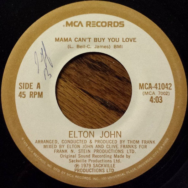 Elton John ‎– Mama Can't Buy You Love / Three Way Love Affair - VG+ 45rpm 1979 USA MCA Records - Funk / Soul / Pop / Disco