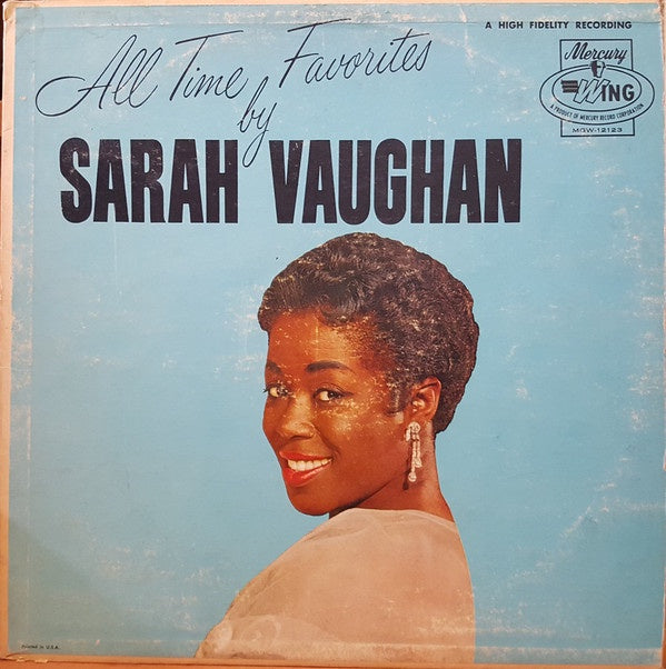 Sarah Vaughan ‎– All Time Favorites By - Mint- Lp recod 1963 Mercury USA Mono Vinyl - Jazz Vocal