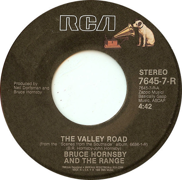 "Bruce Hornsby And The Range - The Valley Road / The Long Race VG - 7"" Single 45RPM 1988 RCA USA - Rock"