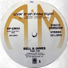 "Bell & James - Livin' It Up (Friday Night) VG+ - 12"" Single 1978 USA - Disco"