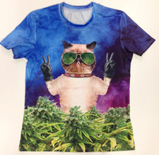 Stoner Cat - 88% Polyester / 12% Spandex Blend T-Shirt