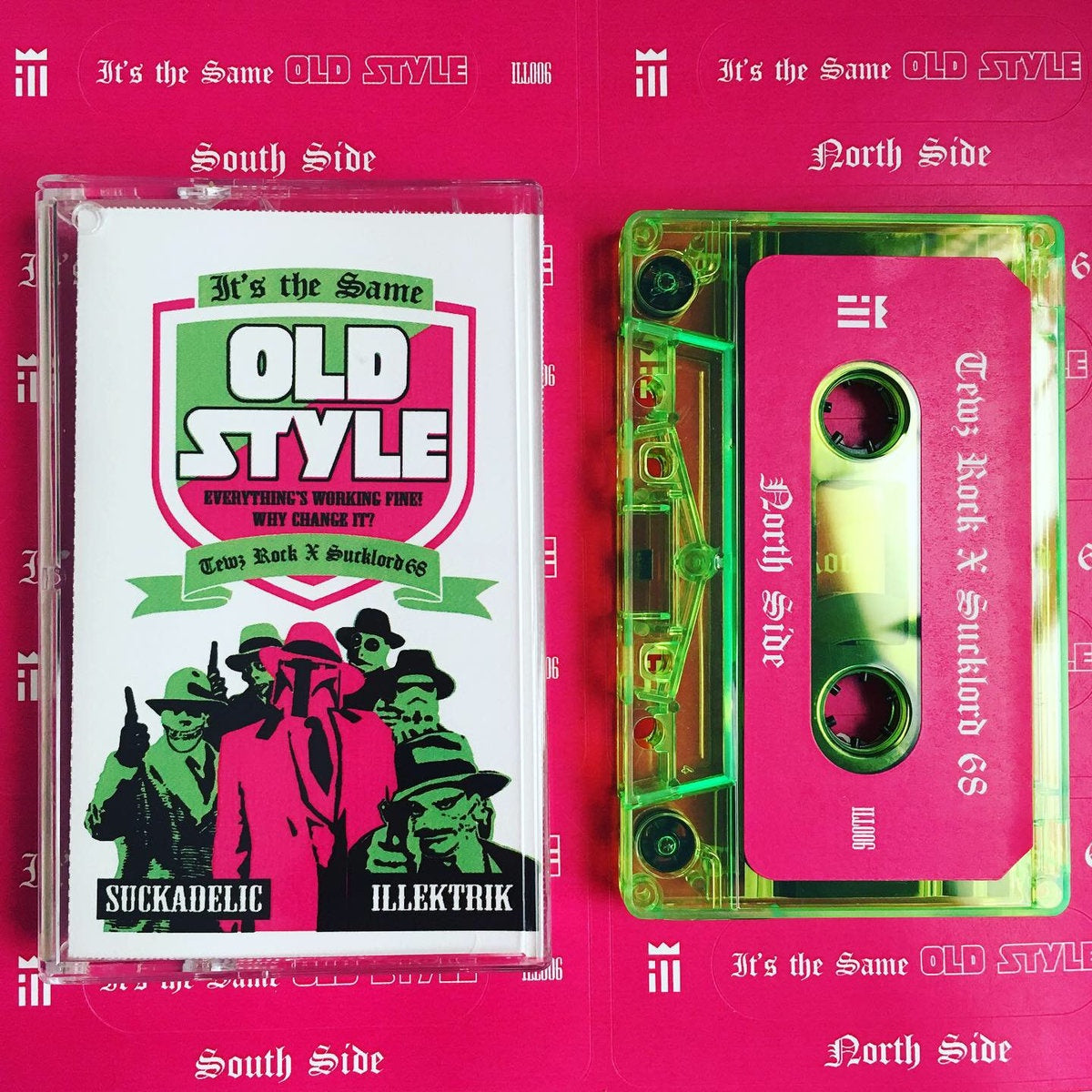 Tewz Rock x Sucklord 68 - Its the Same OLD STYLE - New Cassette 2019 'Chicago Themed Fluorescent Green' Colored Tape - Chicago Beat Tape / Instrumental Hip Hop