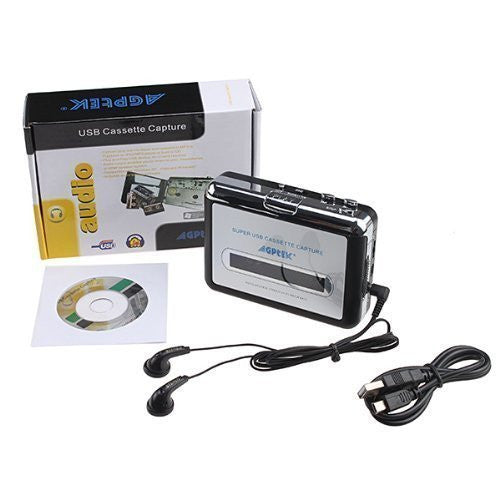 NEW - AGPtek Cassette Tape to PC Super USB Cassette-to-MP3 Player Converter With USB Cable, Headphones and Software