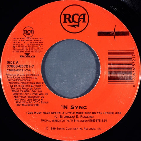 "'N Sync ‎– (God Must Have Spent) A Little More Time On You / I Drive Myself Crazy MINT- 7"" Single 45 rpm 1999 RCA USA - Pop"