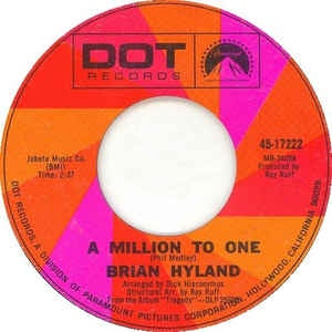 Image result for BRIAN HYLAND A MILLION TO ONE SINGLE IMAGES