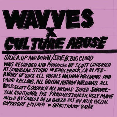 "Wavves / Culture Abuse - Up and Down / Big Cloud - New 7"" Vinyl 2018 Ghost Ramp Limited Edition Pressing on Pink Vinyl - Garage / Indie / Grunge Punk"