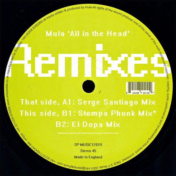 "Mula - All In The Head (Remixes) - VG+ 12"" Single (UK Import) 2003 - House"