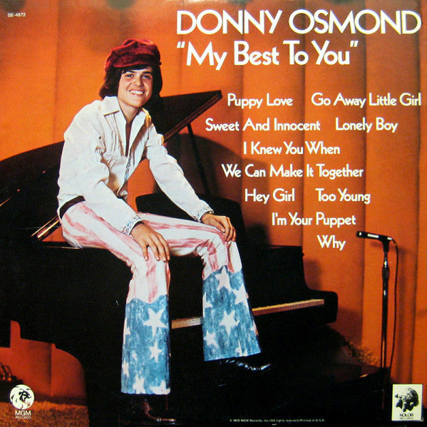 Donny Osmond - My Best To You - VG+ 1972 Stereo USA - Pop/Rock