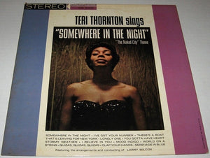 Teri Thornton ‎– Somewhere In The Night - VG Lp Record 1963 USA Stereo Original Vinyl - Jazz / Vocal
