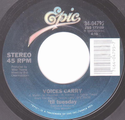 "'Til Tuesday- Voices Carry / Are You Serious?- VG 7"" Single 45RPM- 1985 Epic USA- Electronic/Synth-Pop"