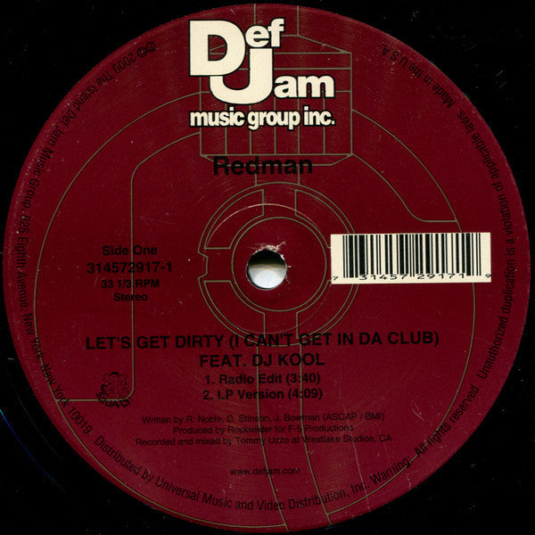 Redman Feat  DJ Kool - Let's Get Dirty (I Can't Get In Da Club) VG+ - 12