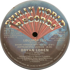 "Bryan Loren - Lollipop Luv VG+ - 12"" Single Philly World USA - Disco"