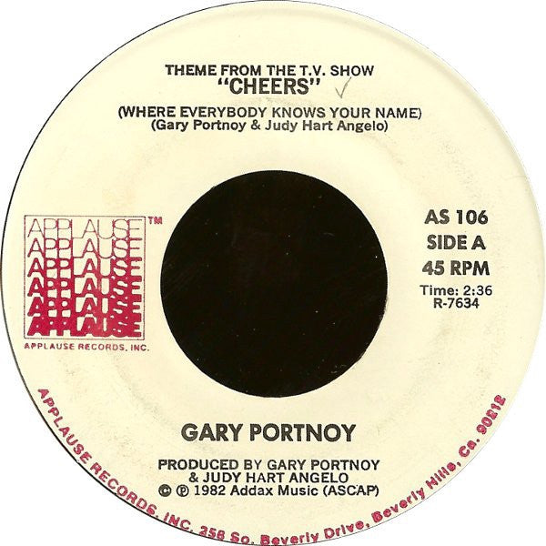 "Gary Portnoy ‎– Theme From The T.V. Show ""Cheers"" (Where Everybody Knows Your Name) / Jenny - VG+ 45rpm 1982 USA - Theme / Soundtrack"