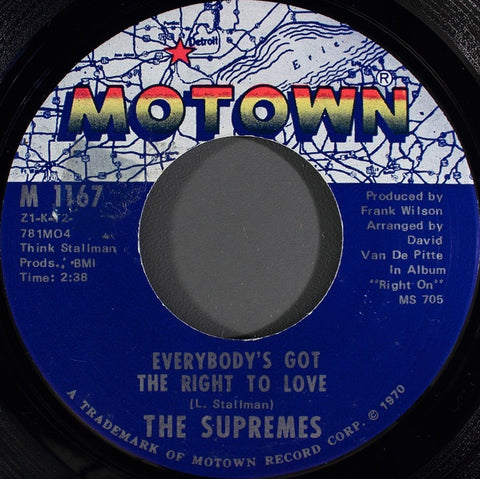 "The Supremes - Everybody's Got The Right To Love / But I Love You More - VG  7"" Single 45rpm 1970 Motown US - Soul"