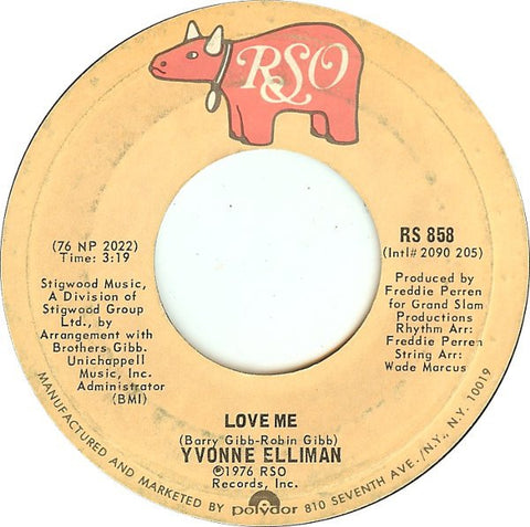 Yvonne Elliman ‎– Love Me / I Kepp Hangin' On - VG+ 45rpm 1976 RSO Records USA - Electronic / Syth-Pop / Disco