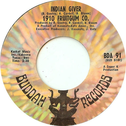 1910 Fruitgum Co. ‎– Indian Giver / Pow Wow - VG+ 45rpm 1969 USA - Rock / Pop / Psychedelic