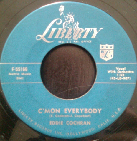 "Eddie Cochran ‎– Don't Ever Let Me Go / C'mon Everybody VG- (Low) 7"" Single 45 rpm 1958 Liberty USA - Rockabilly"