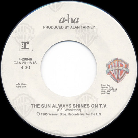 "a-ha ‎– The Sun Always Shines On T.V. / Driftwood VG 7"" Single 1985 Warner Bros - Synth-Pop"
