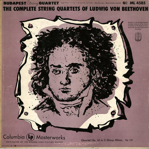 Budapest String Quartet ‎– Beethoven - Quartet No. 14 In C-sharp Minor, Op. 131 (1952) - VG+ Lp Record Mono USA 6 Eye Label 1956 USA - Classical