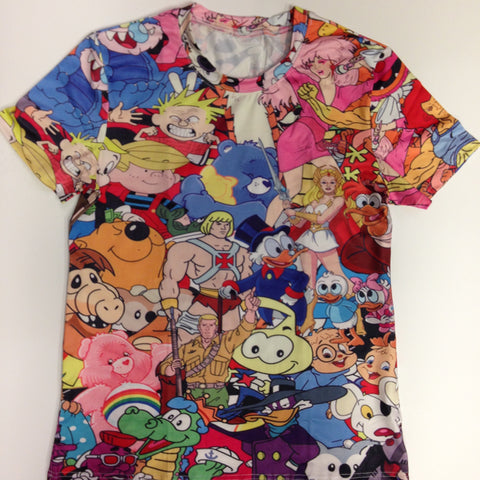 Multi-Character 88% Polyester / 12% Spandex Blend T-Shirt
