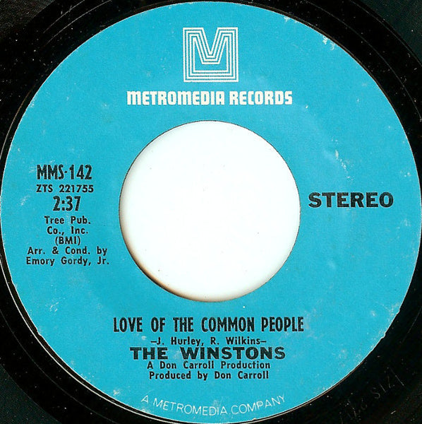 "The Winstons - Love Of The Common People / Wheel Of Fortune VG - 7"" Single 45RPM 1969 Metromedia USA - Funk/Soul"