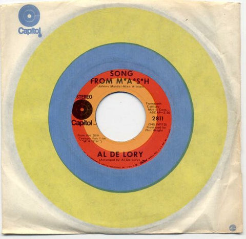 "Al De Lory ‎- Song From M*A*S*H - VG+ 7"" Single 45 RPM 1970 USA - Soundtrack / Jazz"
