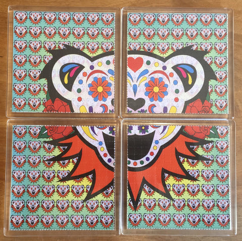 Grateful Dead / Bear - Psychedelic - Blotter Art - Highly Collectible Artwork Blotter Paper Coaster (4 pack)