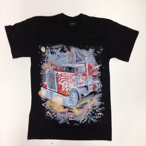 Red Semi-Truck - 100% Cotton Black T-Shirt