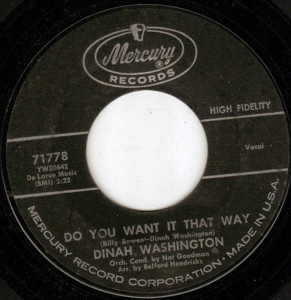 "Dinah Washington - Do You Want It That Way / Early Every Morning (Early Every Evening Too) - VG+ 7"" Single 45RPM Mercury USA - R&B"