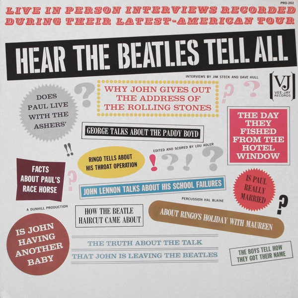 The Beatles ‎– Hear The Beatles Tell All (1964) - New Lp Record 1970s Vee Jay USA Vinyl - Interview / Non-Music
