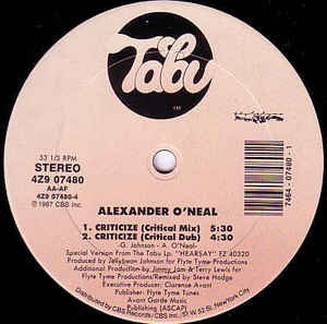 "Alexander O'Neal ‎– Criticize Mint- – 12"" Single 1987 Tabu USA - Synth Pop/Disco"