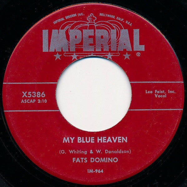 "Fats Domino - My Blue Heaven / I'm In Love Again - VG+ 7"" Single 45RPM 1956 Imperial USA - Rock"