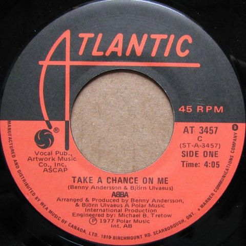 "ABBA ‎- Take A Chance On Me - VG+ 7"" Single 45 RPM 1978 USA - Funk / Soul"