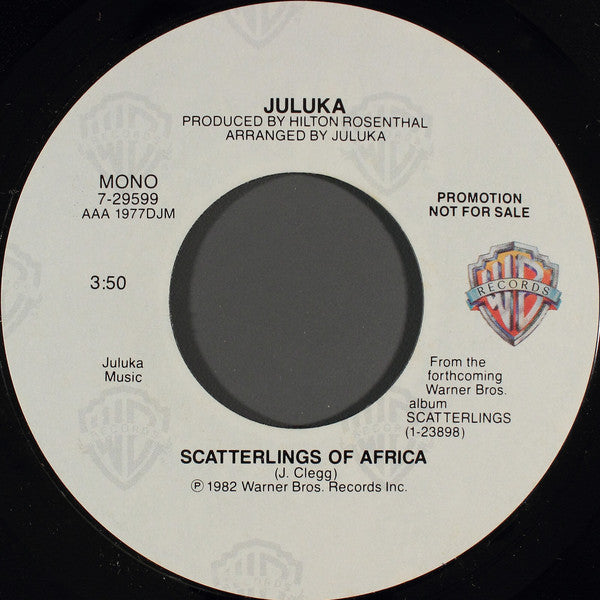 "Juluka - Scatterlings Of Africa Stereo/Mono Promo Mint- - 7"" Single 45RPM 1982 Warner Bros. USA - International"