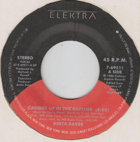 "Anita Baker ‎– Caught Up In The Rapture / Mystery - VG 7"" Single 45rpm 1986 Elektra USA - Soul / R&B"