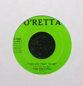 "The Chi-Lites ‎– You Did That To Me / I Won't Care About You - VG+ 7"" Single 45 Record 1970 Original Vinyl - Chicago Northern Soul"