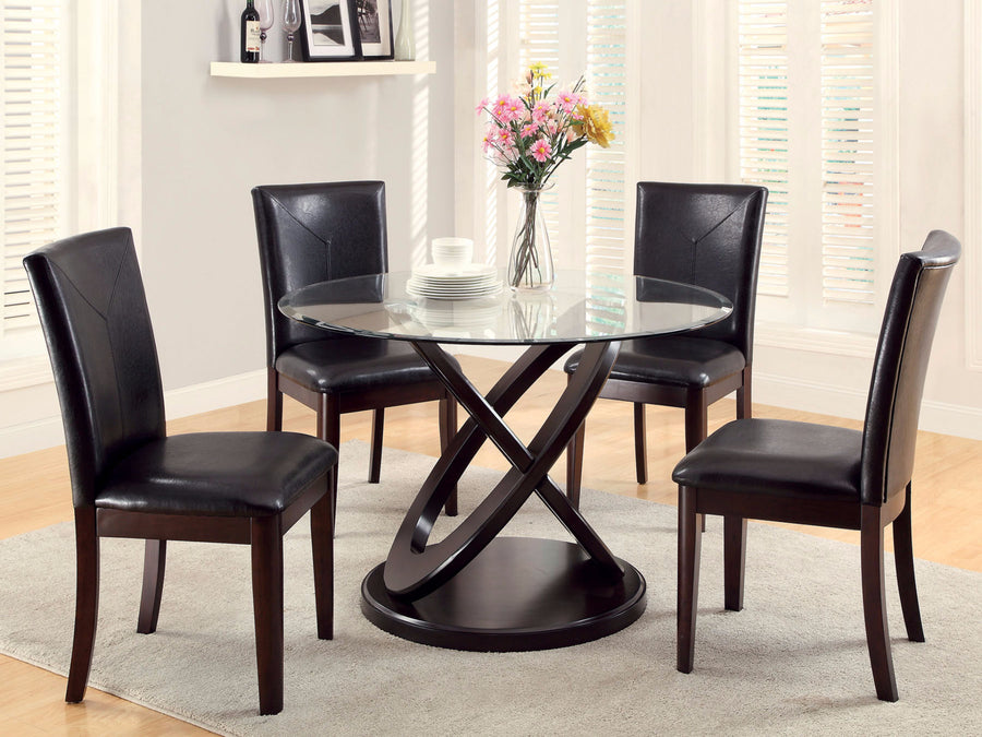 Lacey 5 Pc Glass Dining Table Set