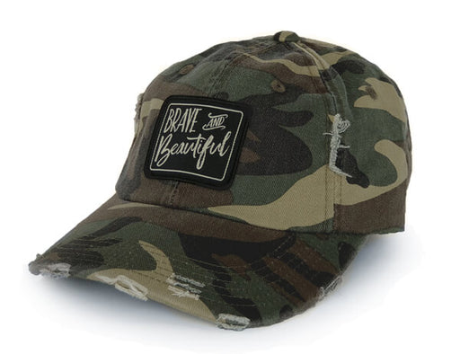 Brave & Beautiful Distressed Hat (Camo)
