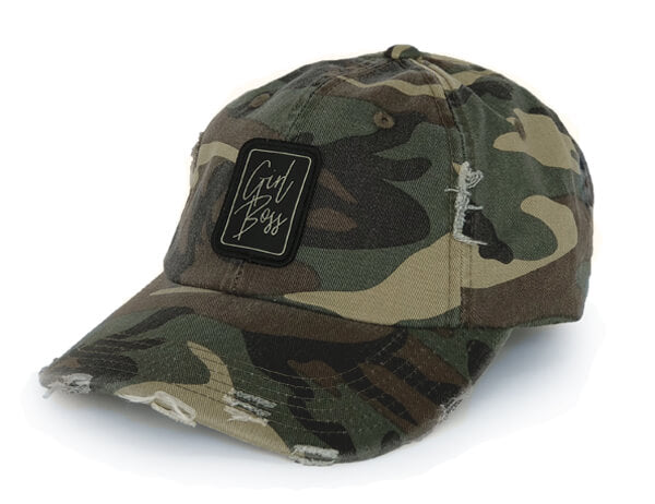 Girl Boss Distressed Hat (Camo)