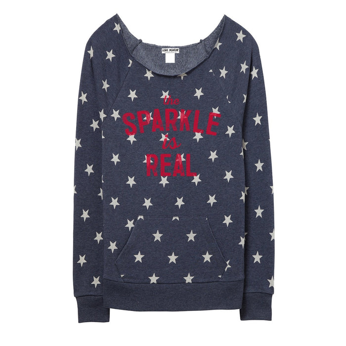 The Sparkle Is Real Women's Off-The-Shoulder Star Sweatshirt