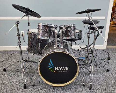 Hawk Custom Edrums Prototype Black Sparkle Kit and Roland Package