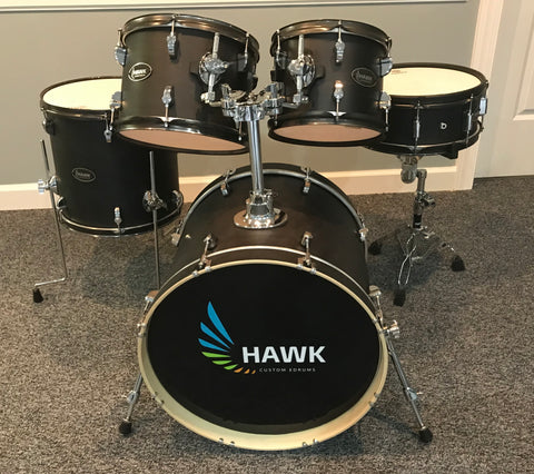 Hawk Custom Kit in Satin Black and Black Rims - Shellpack - edrumcenter.com